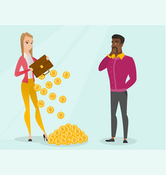woman shaking out bitcoin coins from briefcase vector image