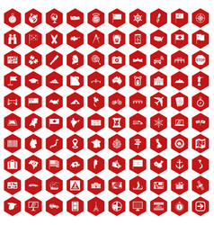 100 cartography icons hexagon red vector image