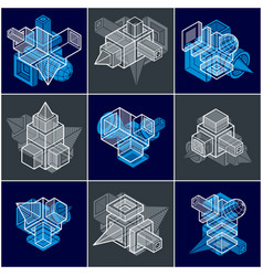 3d designs set of abstract shapes vector