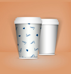 3d realistic set of paper coffee or tea cups mock vector