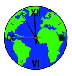 A clock with a world map on the dial vector