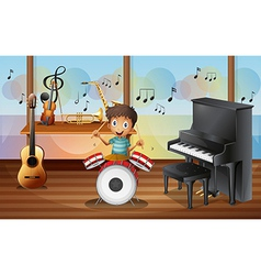 A happy drummerboy inside the music room vector image