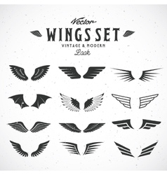 Abstract Wings Big Set Both Retro and vector