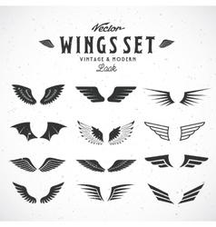 Abstract wings big set both retro vector