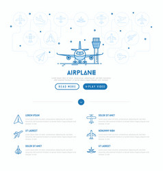 Airplane on runway concept vector