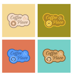 Assembly flat icons coffee drink place logo vector