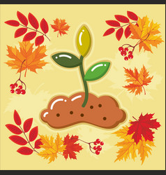 autumn agricultural icons with autumn leaves 11 vector image