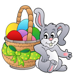 basket with easter eggs and bunny vector image