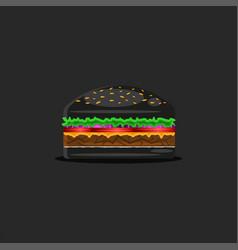 Black hamburger food one burger with classic vector