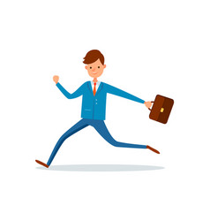 businessman running at work with briefcase in hand vector image