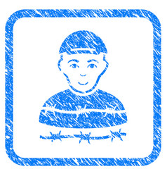 Camp prisoner framed stamp vector