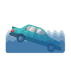 Car accident in water vector