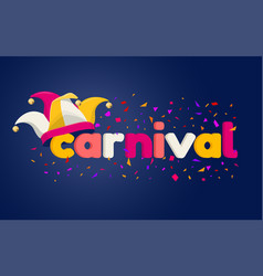 Carnaval lettering with jester hat vector