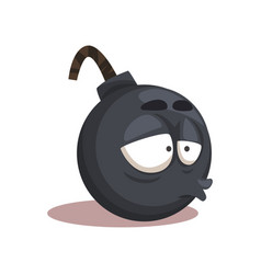 Cartoon funny round bomb character with stressed vector