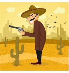 Cartoon mexican wearing a huge sombrero vector