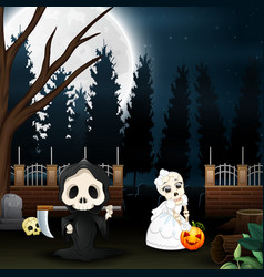 Cartoon of grim reaper and skull bride in the gard vector