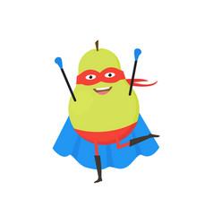 cartoon superhero character pear flat design vector image