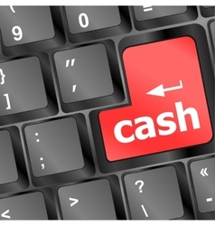 cash for investment concept with a red button on vector image