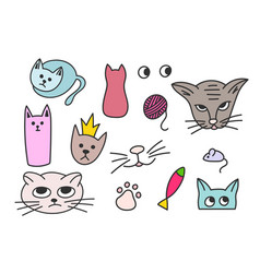 Cats fish mouse princess element vector
