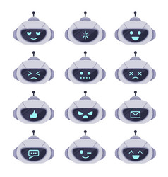 chatbot avatar set technology chat cute symbol vector image