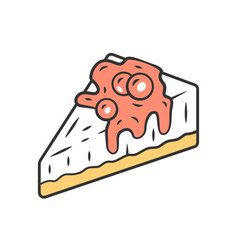 cheesecake color icon cake with topping vector image