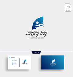 Children learn surfing boy surfer logo template vector