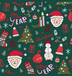 Christmas pattern new year cute doodle seamless vector