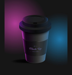 Coffee cup with holder mockup on background vector