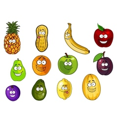 Colorful fruits and vegetables cartoon characters vector image