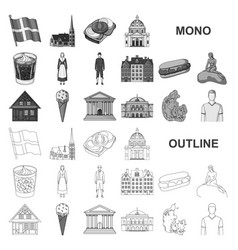 Country denmark monochrom icons in set collection vector