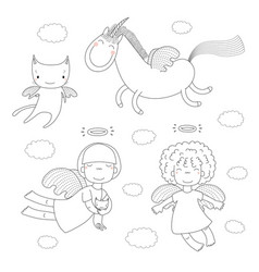 Cute angels coloring pages vector