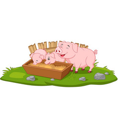 Cute cartoon mother pig and piglets vector