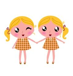 Cute little retro twins vector