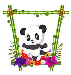 Cute panda in bamboo frame with flower scene vector