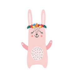 cute rabbit or hare in wreath flat scandinavian vector image