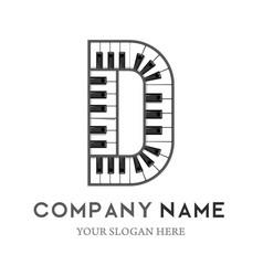 D letter logo design piano keyboard logo vector