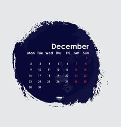 December 2019 calendar templatestarts from vector