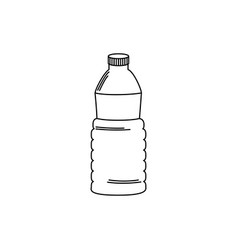 Drinks plastic bottle water hydration line style vector