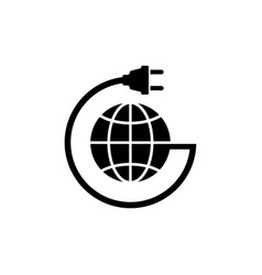 earth globe with power cable flat icon vector image