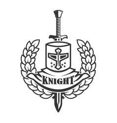 emblem template with retro style knight helmet vector image