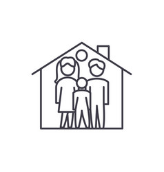 family house line icon concept family house vector image