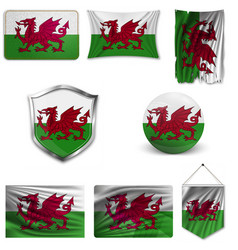 Flag wales national sign vector