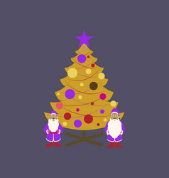 Flat on background of christmas tree santa claus vector