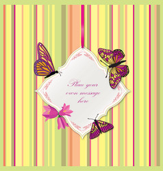 Flower frame greeting card border decor floral vector