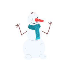funny snowman character in blue scarf christmas vector image