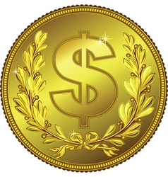 gold Money Dollar coin vector image