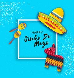 Happy cinco de mayo greeting card paper fan vector