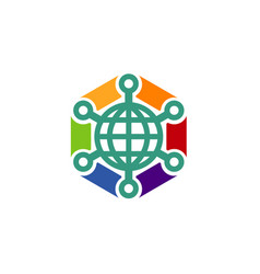 hexagon connection logo vector image