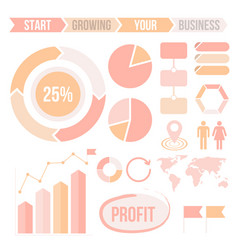 infographics elements set in pastel colors vector image