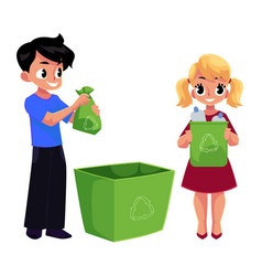 kids children throw plastic bottles in trash vector image